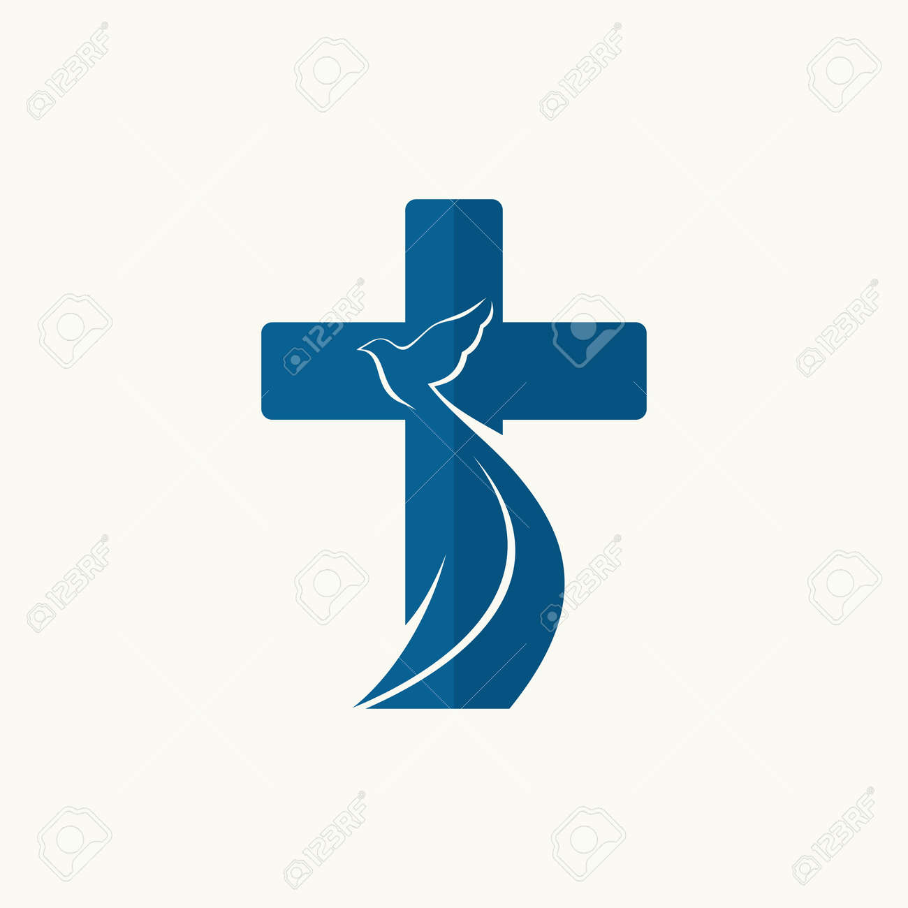 Church Logo Cross And Dove Symbol Of The Holy Spirit Royalty Free