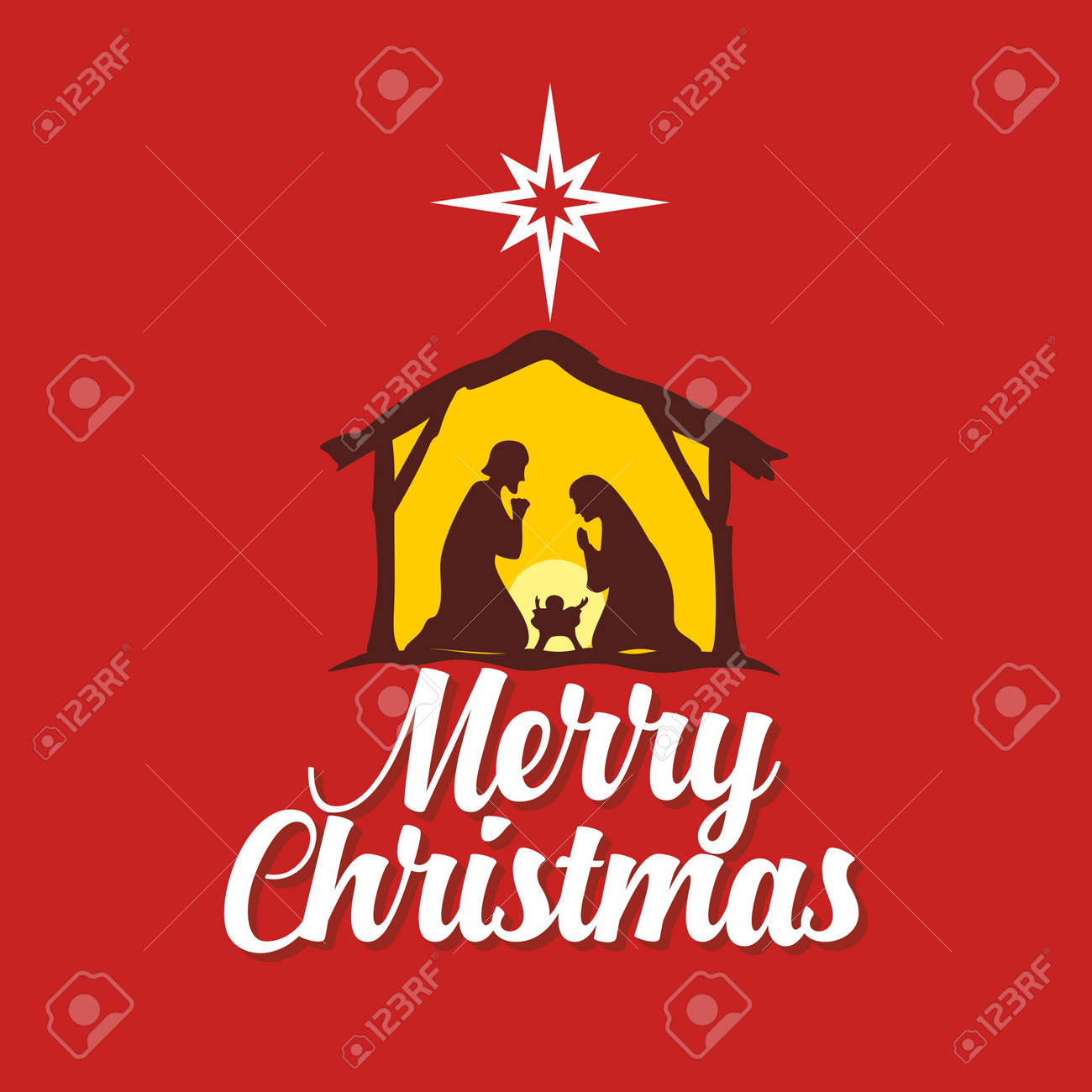 A Christmas Story Logo Vector.Greeting Card With A Christmas Story Mary And Joseph With The
