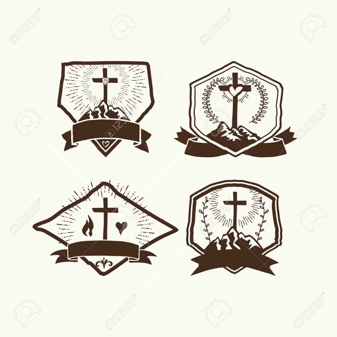 christian logos set church logo royalty free cliparts vectors