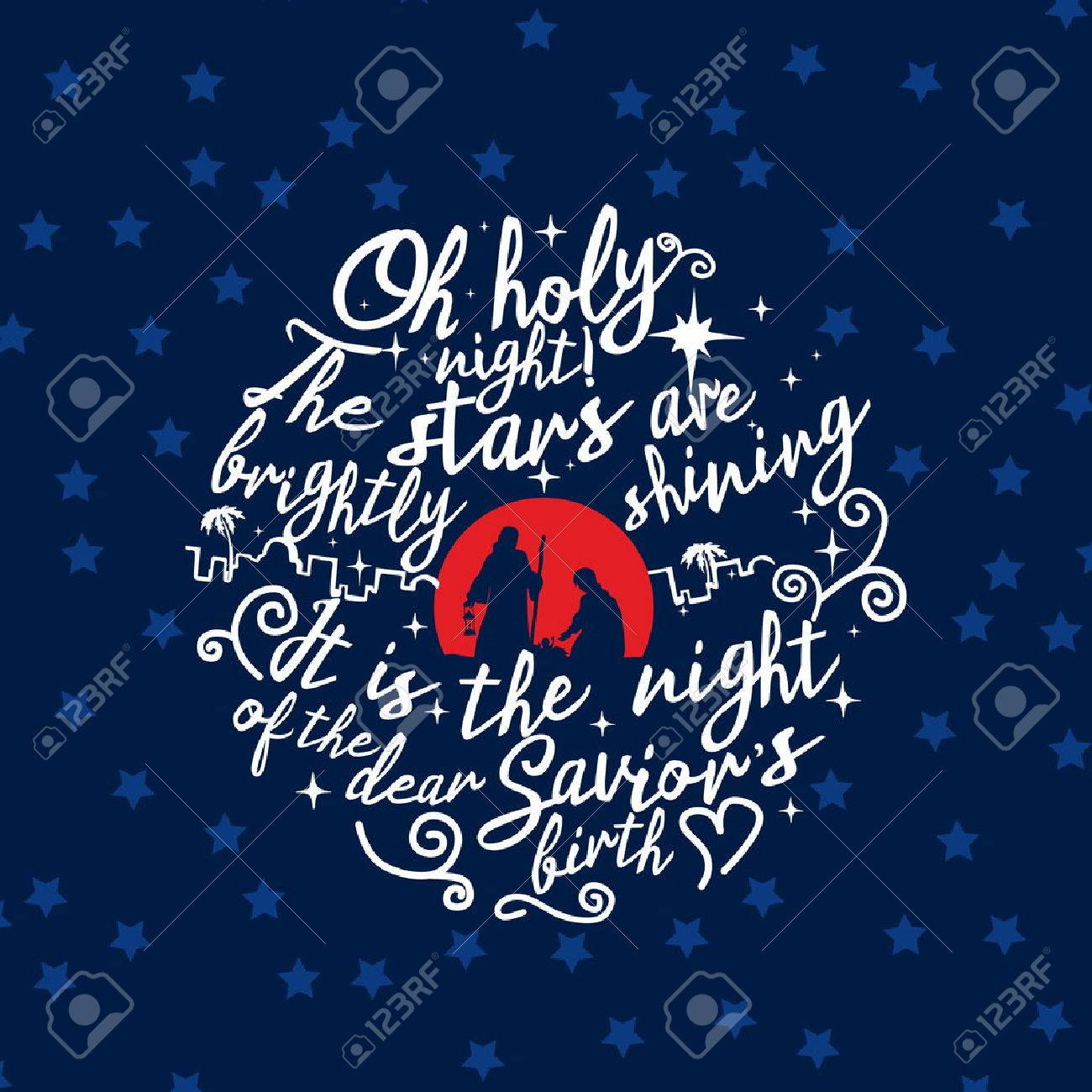 Nativity scene. Christmas. Lettering. O holy night - 50502945