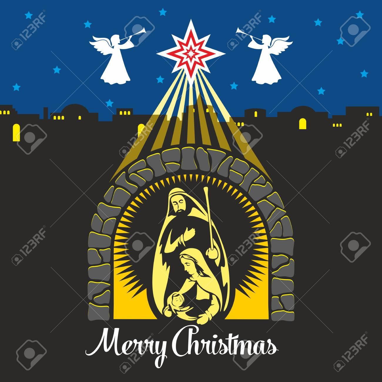 Nativity Scene. Christmas. Mary, Joseph And Small Jesus. Night ...