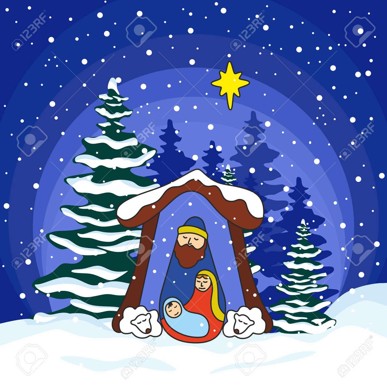 Nativity Scene. Christmas. Mary, Joseph And Small Jesus Royalty Free ...