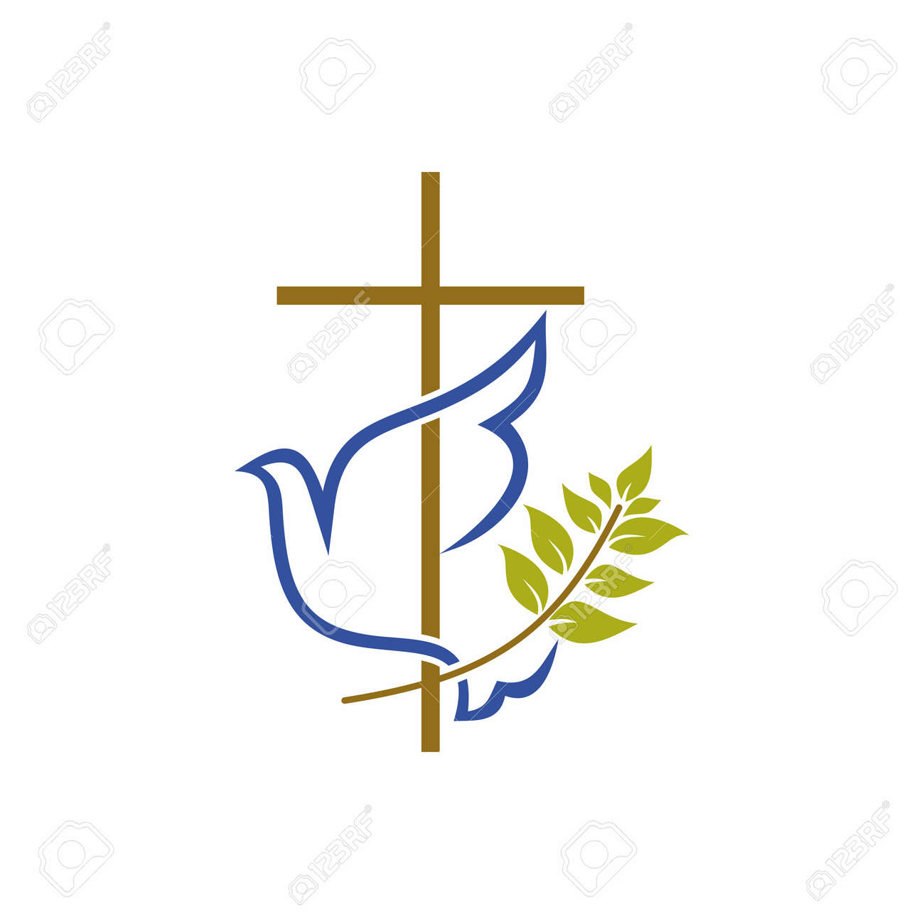 Church logo. Christian symbols. Cross, dove and olive branch. - 55094139