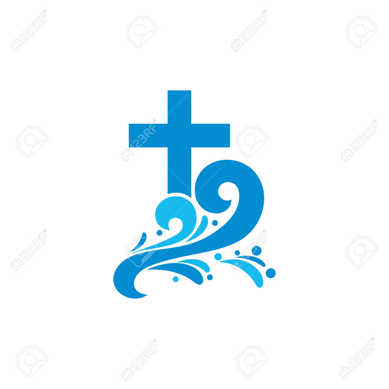 Logo church. Christian symbols. Cross and waves. Jesus - the source of living water. - 55152083