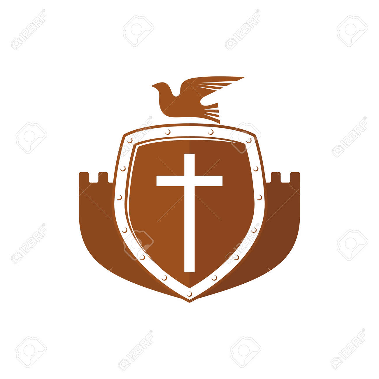 Church Logo Christian Symbols Shield Fortress Jesus Dove