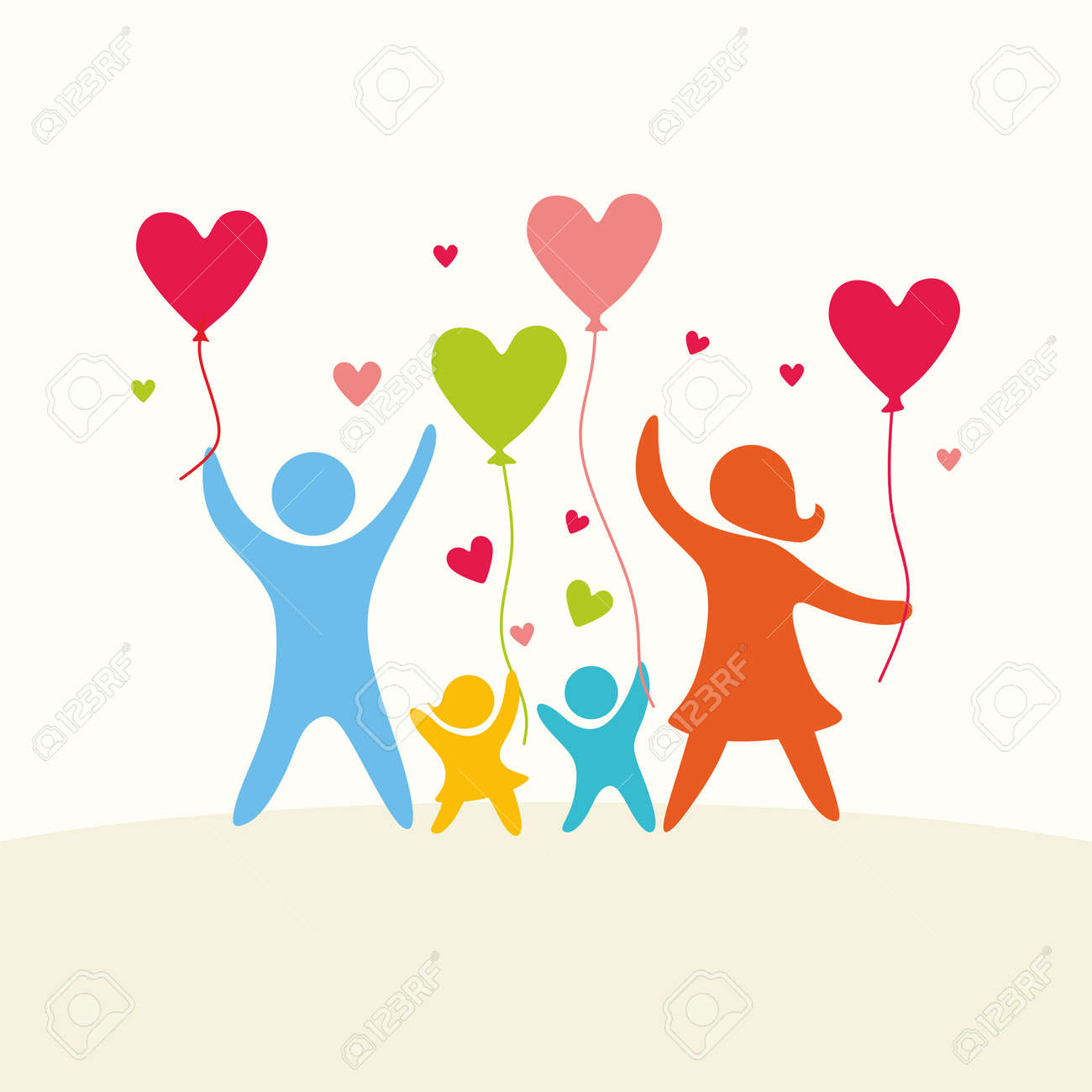 A happy family. Multicolored figures, loving family members. Parents: Mom, Dad, kids. Logo, icon, sign. - 57377460