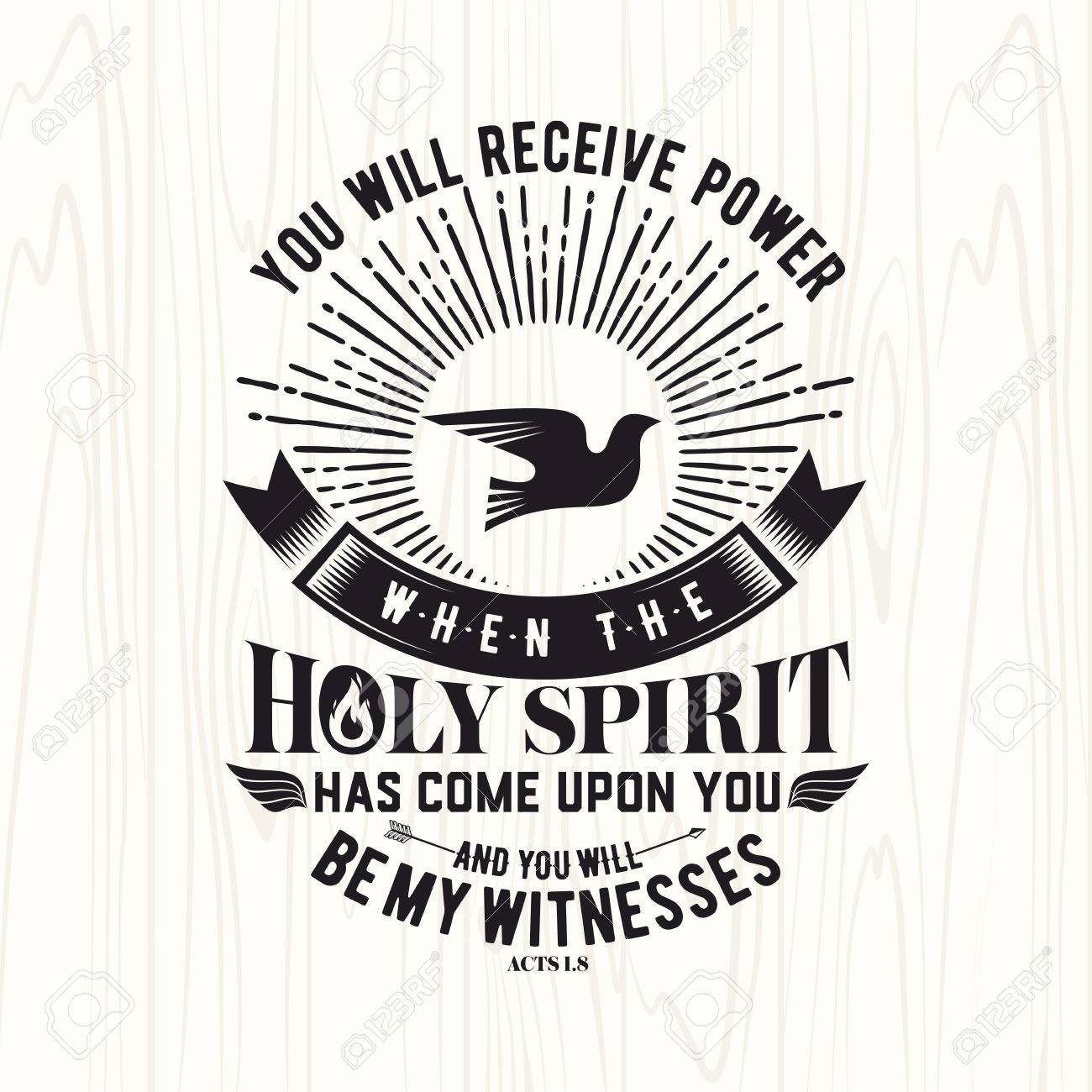 Biblical illustration  Christian lettering  You will receive
