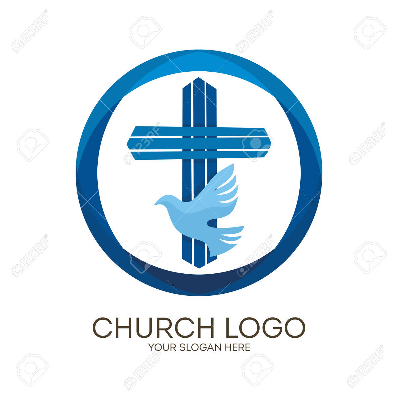 Church logo christian symbols jesus cross and dove the holy church logo christian symbols jesus cross and dove the holy spirit altavistaventures Choice Image