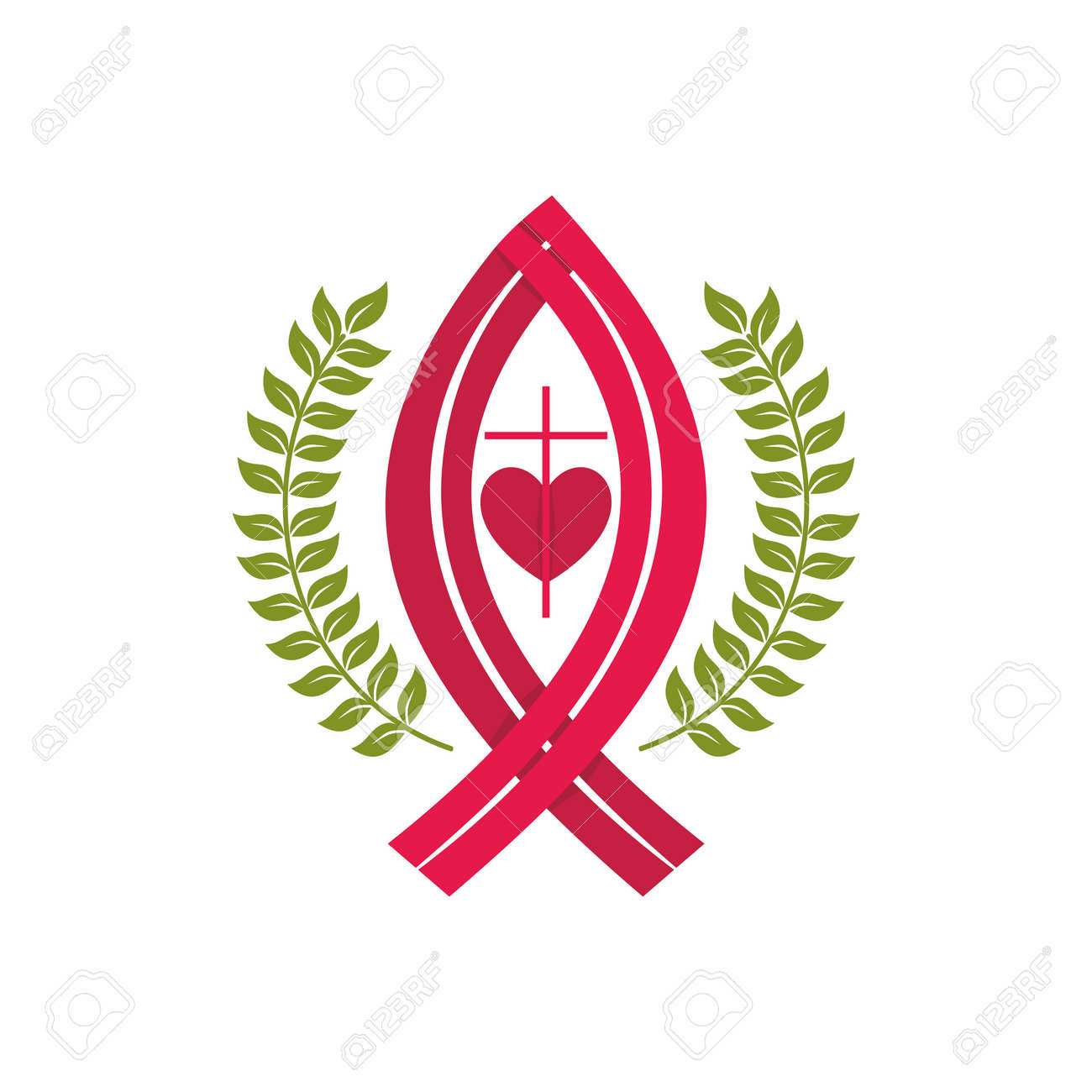 Church logo christian symbols cross jesus fish and heart christian symbols cross jesus fish and heart stock vector buycottarizona Image collections