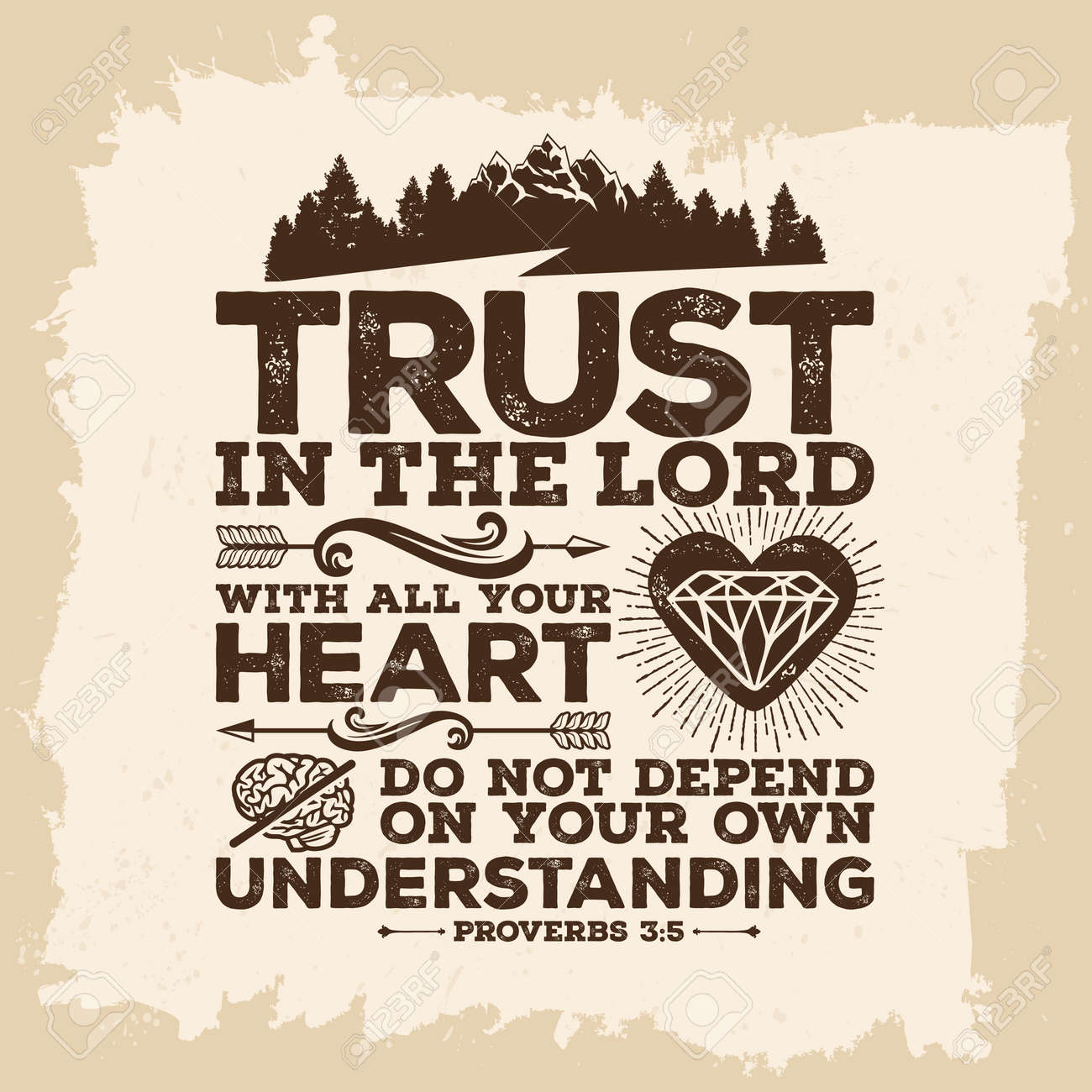 Bible lettering. Christian art. Trust in the LORD with all your heart, and do not lean on your own understanding. Proverbs 3: 5 - 61335577