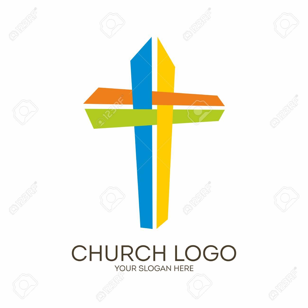 Iglesia. Símbolos Cristianos Colorear La Cruz De Jesús Ilustraciones ...