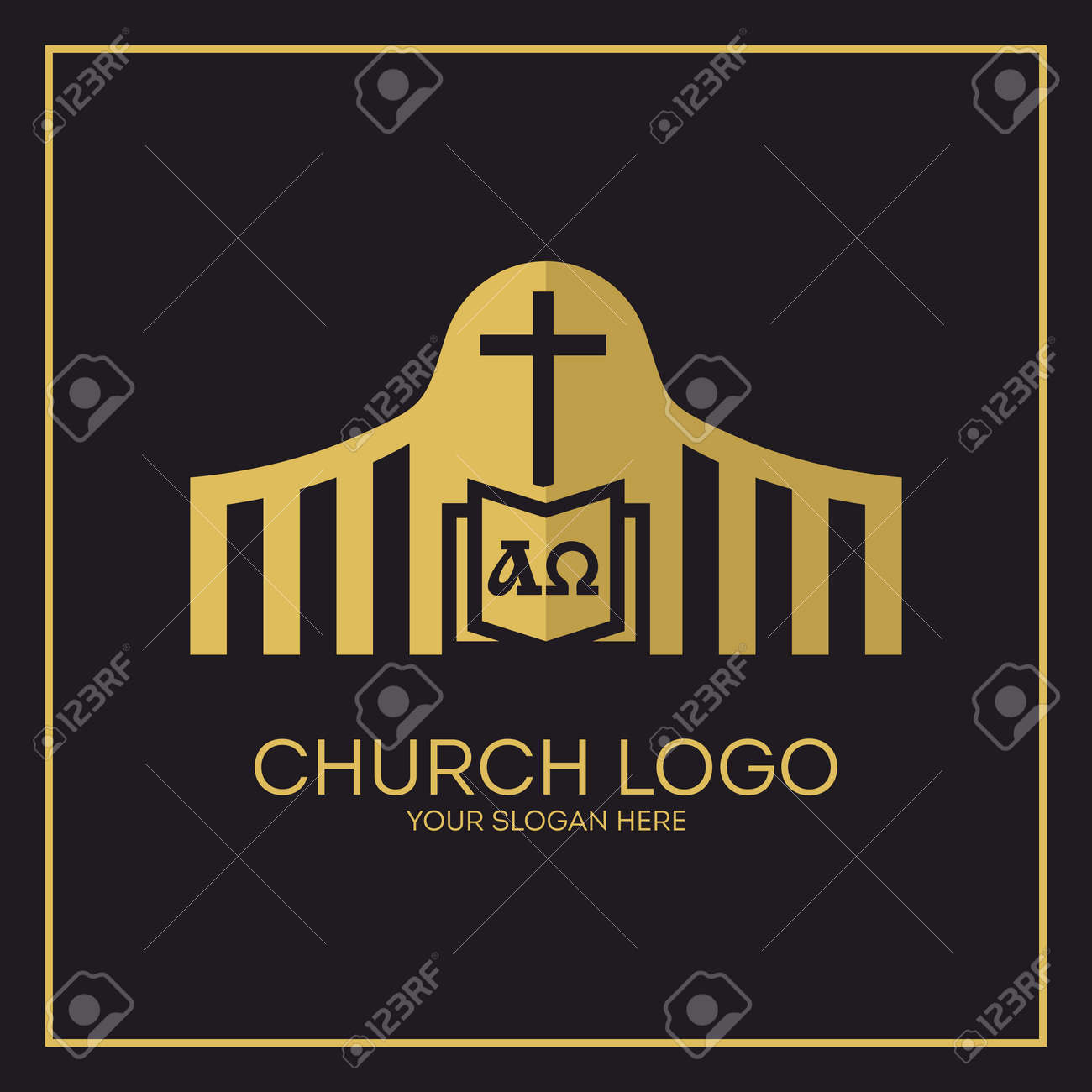 Church christian symbols holy bible cross alpha and omega christian symbols holy bible cross alpha and omega stock vector buycottarizona