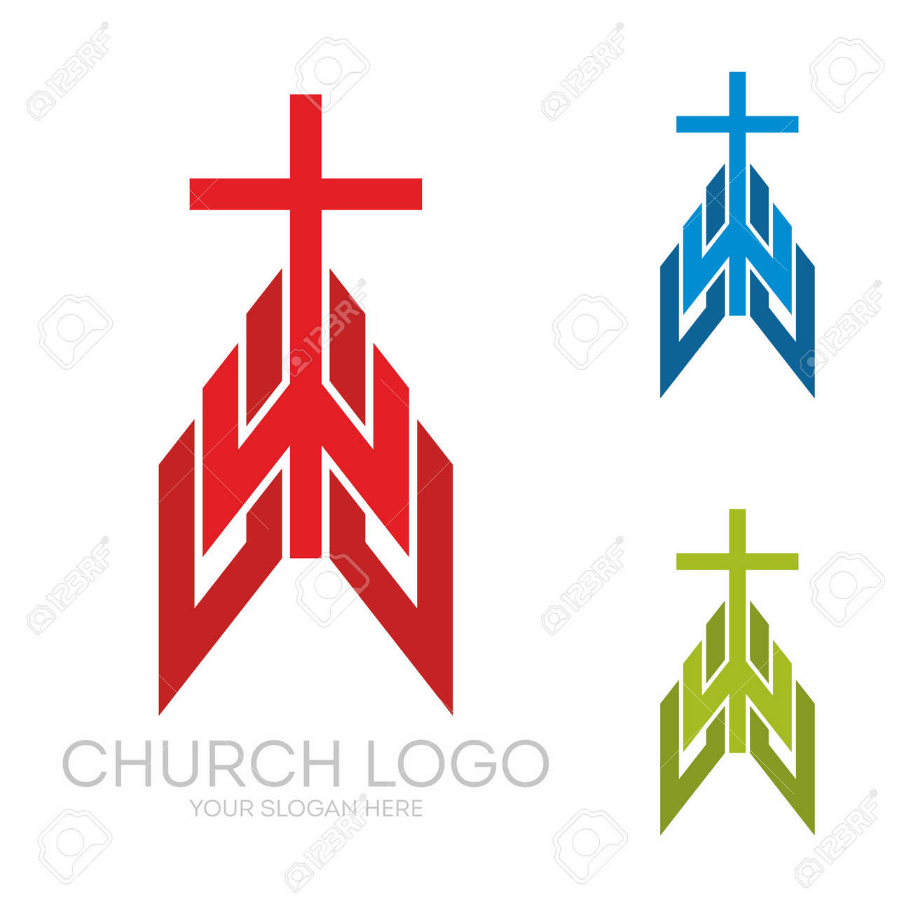 Christian Symbols Stylish Cross Of Jesus Christ Among Graphic