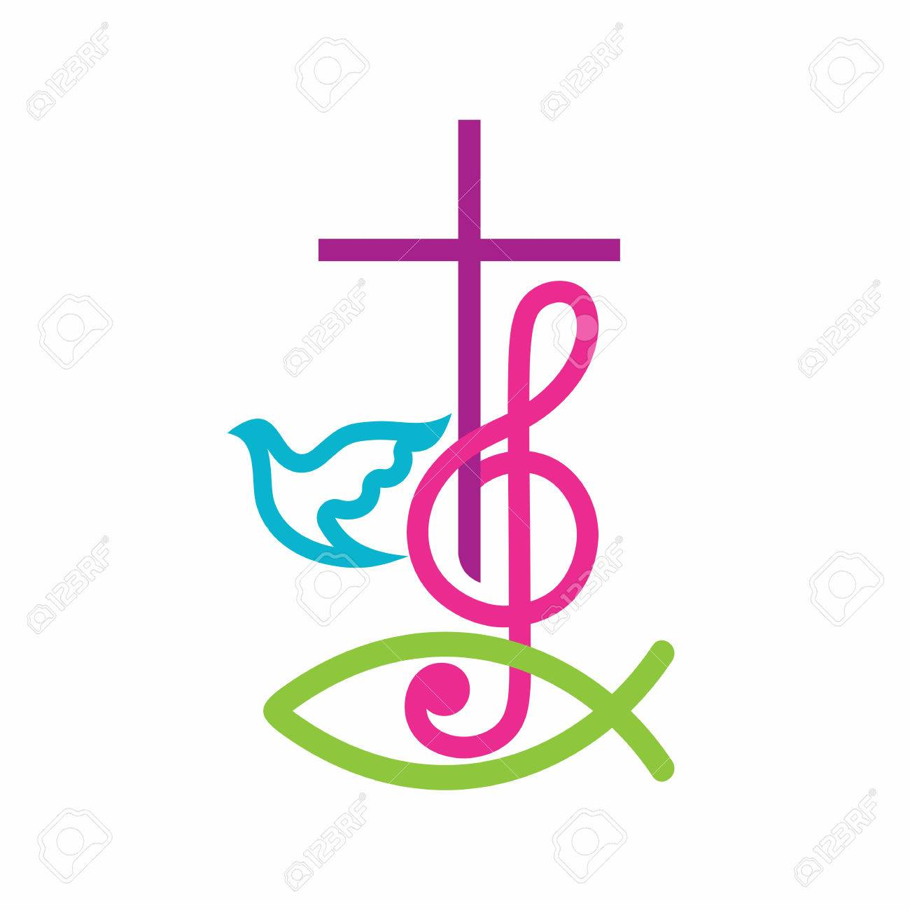 Church logo christian symbols the cross of jesus christ and church logo christian symbols the cross of jesus christ and treble clef as a buycottarizona Image collections