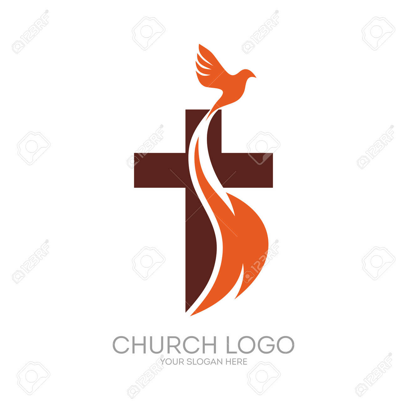 Church logo. Christian symbols. The Cross of Jesus, the fire of the Holy Spirit and the dove. - 65715331