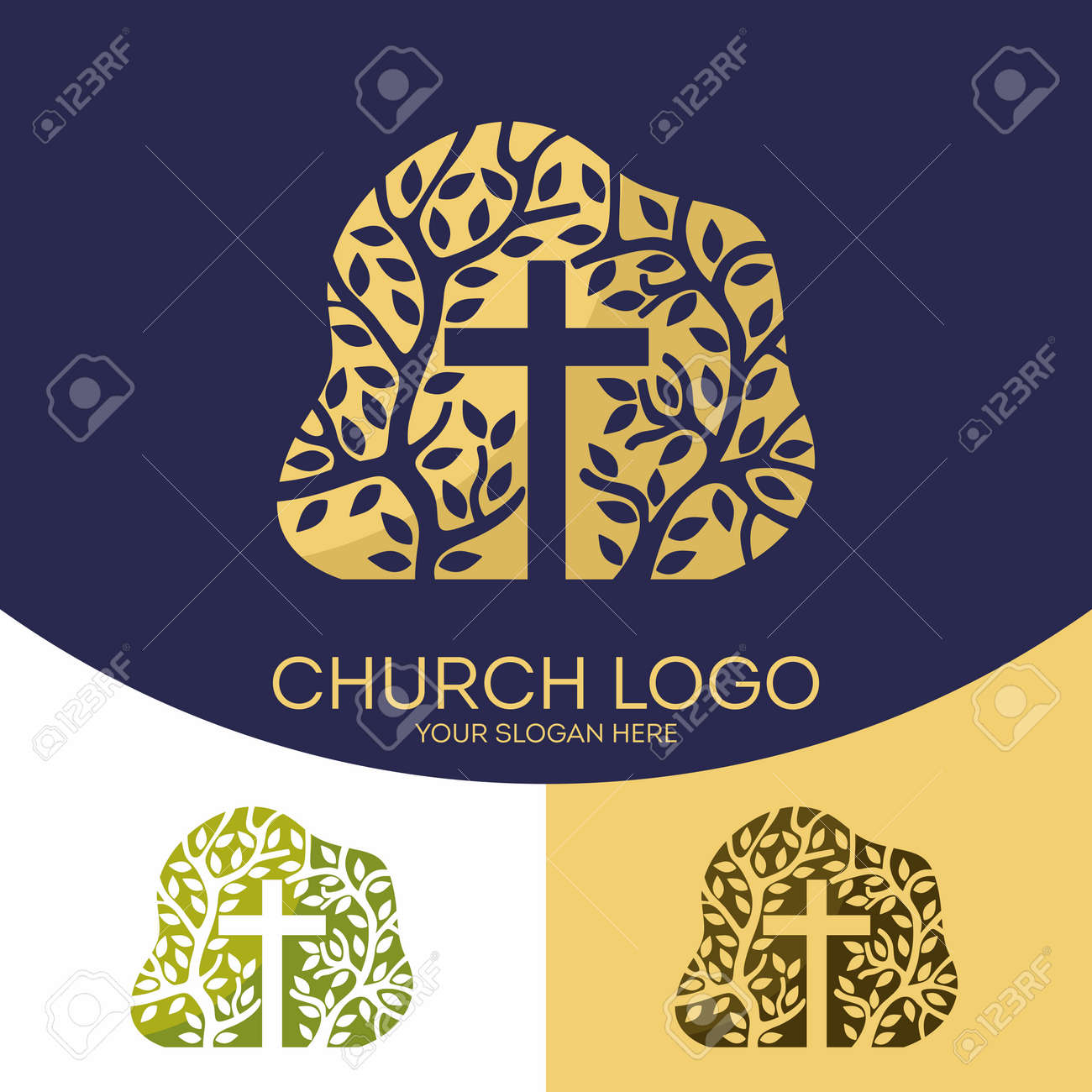 Church logo christian symbols the cross of jesus christ and church logo christian symbols the cross of jesus christ and the tree as a buycottarizona Image collections