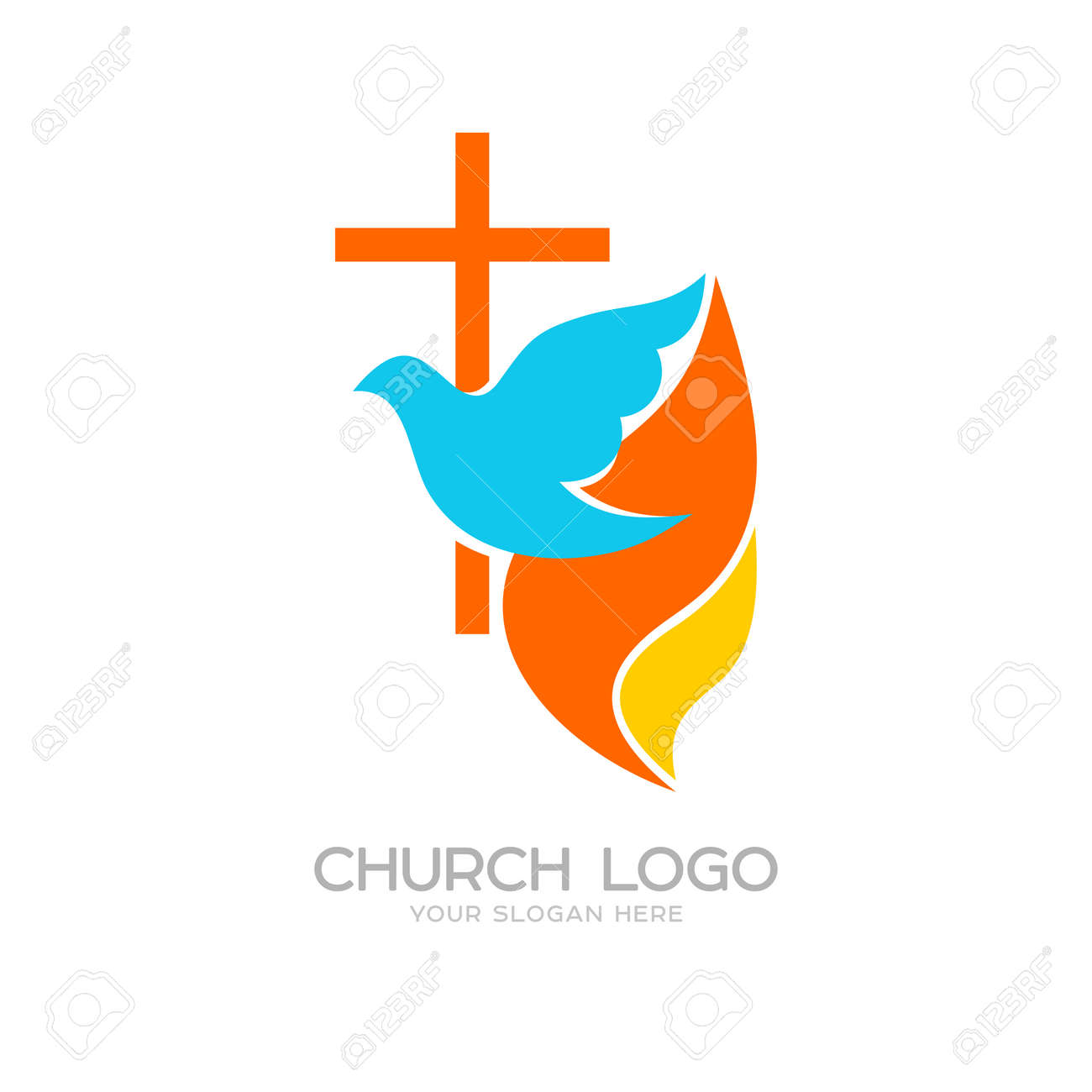 Church logo cristian symbols the cross of jesus the dove and church logo cristian symbols the cross of jesus the dove and the flame altavistaventures Choice Image