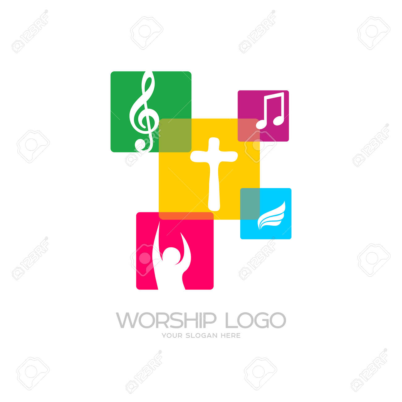 worship logo cristian symbols the cross of jesus musical notes rh 123rf com Music Notes Single Music Notes