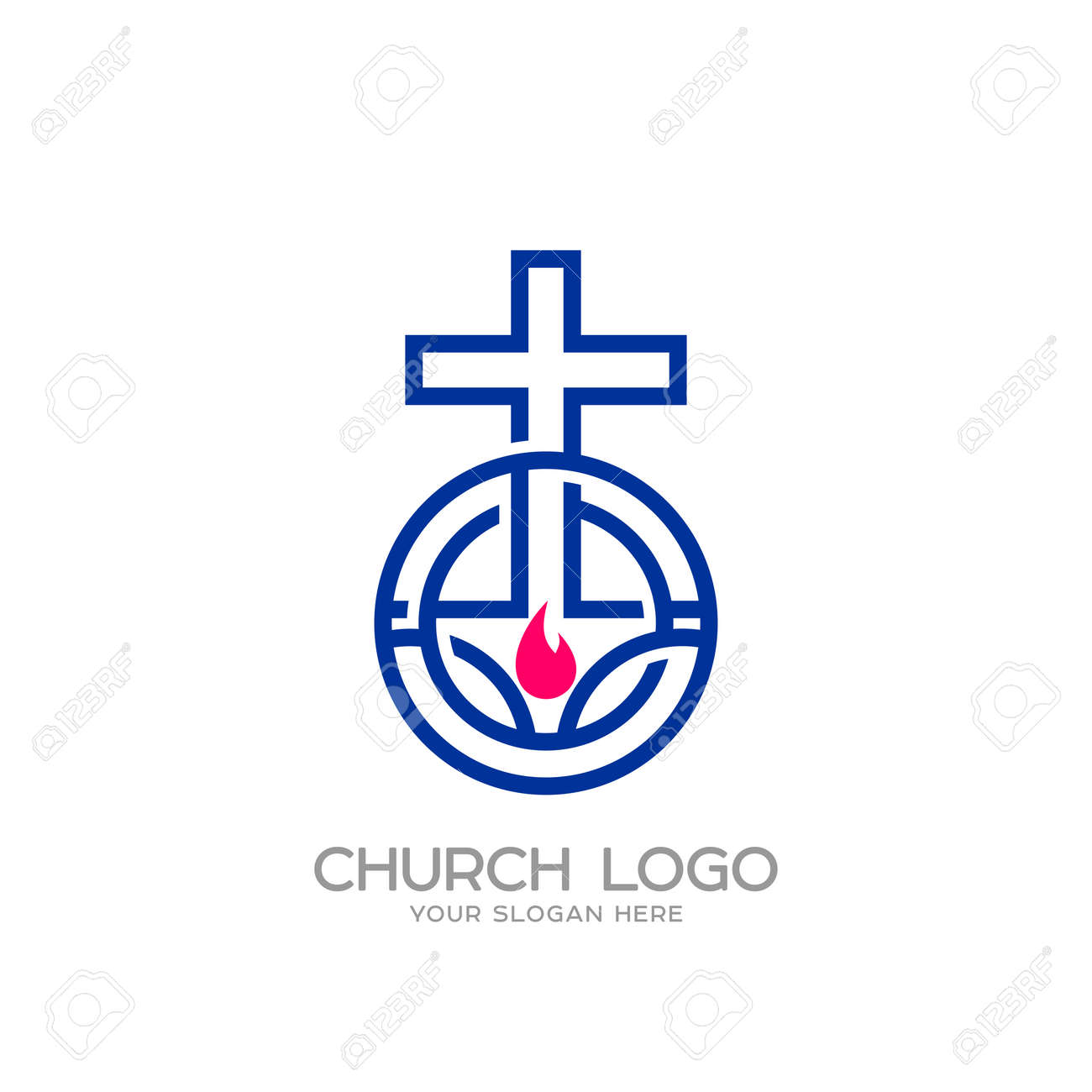 Church Logo Christian Symbols The Cross Of Jesus And The Flame