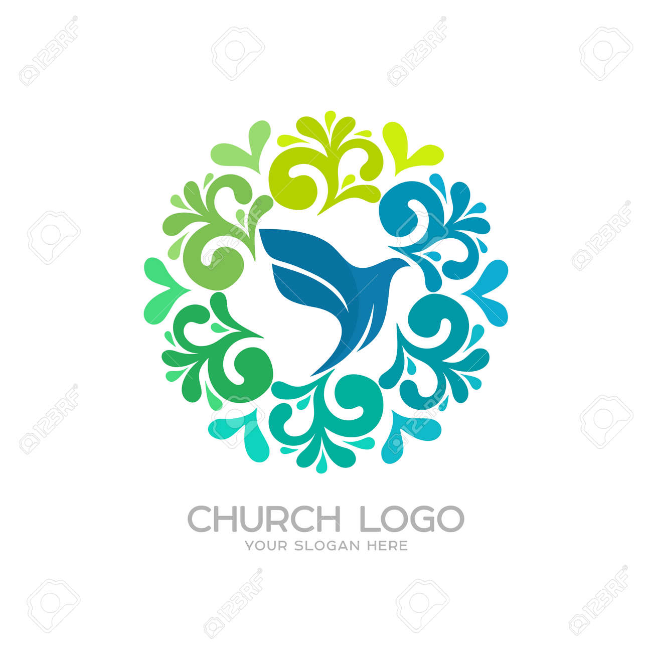Church logo christian symbols dove the symbol of the holy church logo christian symbols dove the symbol of the holy spirit stock vector altavistaventures Choice Image