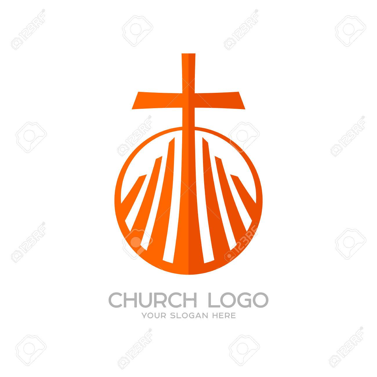 Church logo christian symbols the cross of jesus and the graphic christian symbols the cross of jesus and the graphic elements stock vector buycottarizona