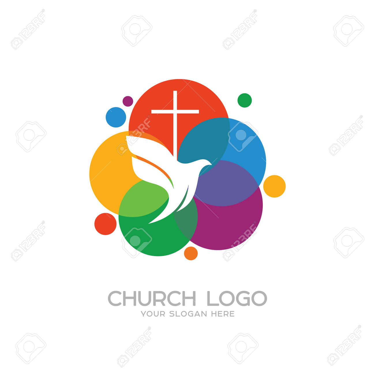 Church logo christian symbols the cross of jesus and the dove church logo christian symbols the cross of jesus and the dove stock vector altavistaventures Choice Image