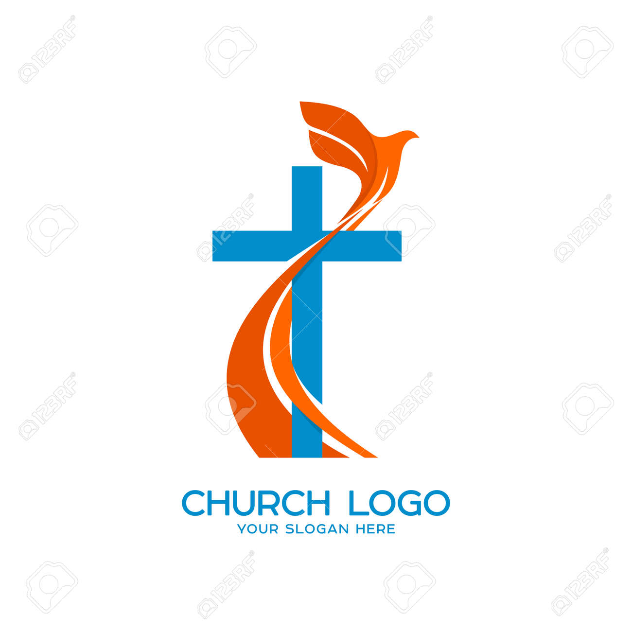 Church logo christian symbols cross and a flying dove a symbol church logo christian symbols cross and a flying dove a symbol of the altavistaventures Images