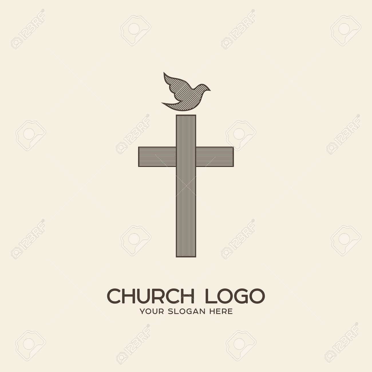 Church logo christian symbols the cross of jesus and the dove christian symbols the cross of jesus and the dove stock vector buycottarizona