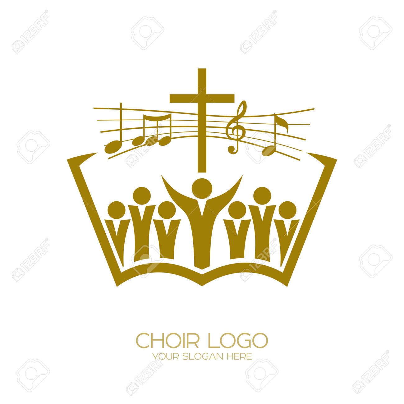 Music logo  Christian symbols  Believers in Jesus sing a song