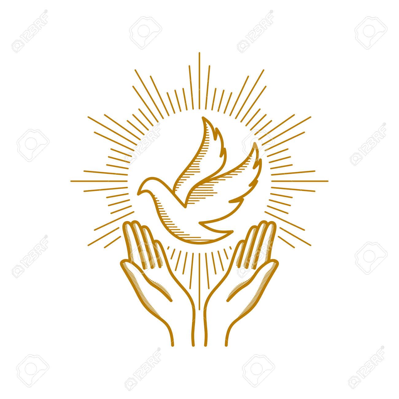 Church logo. Christian symbols. Praying hands and dove - a symbol of the Holy Spirit. - 113695507