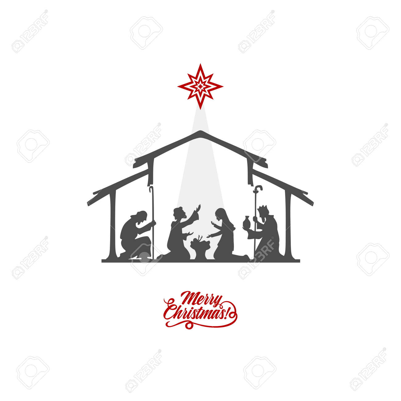 A Christmas Story Logo Vector.Biblical Illustration Christmas Story Mary And Joseph With