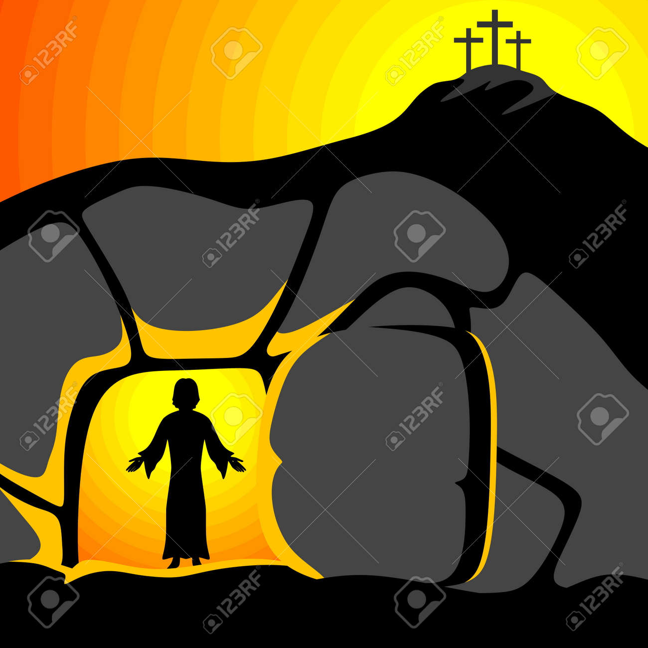Easter illustration. Jesus Christ is risen. - 117556927