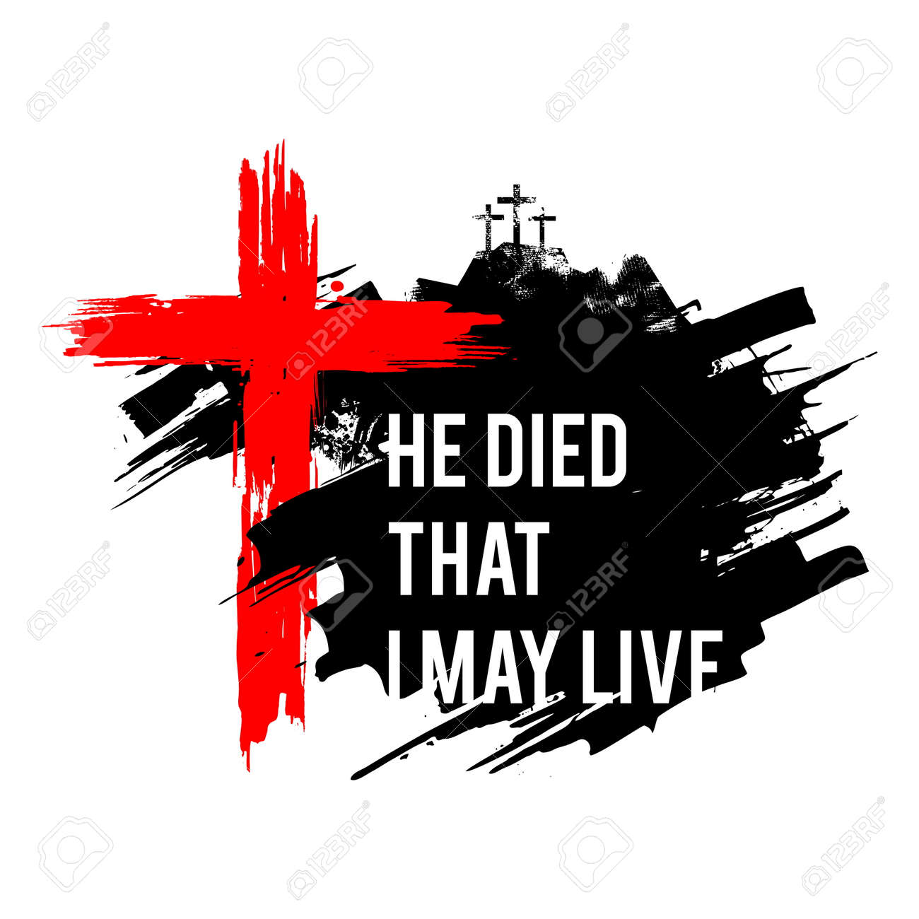 Happy easter illustration. Jesus died that I may live. - 117557015