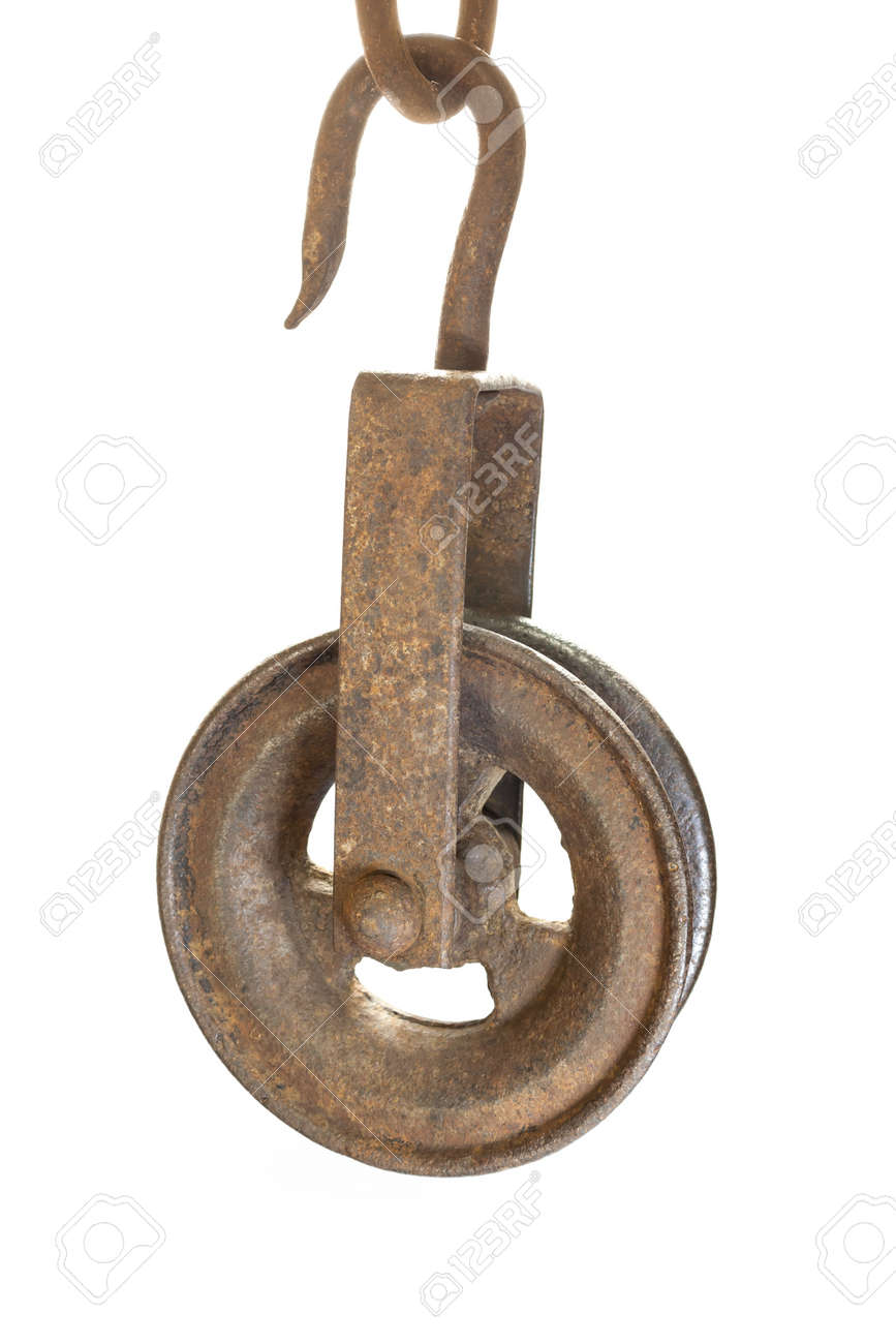 Closeup Image Of An Old Pulley Used To Draw Water From Wells Stock