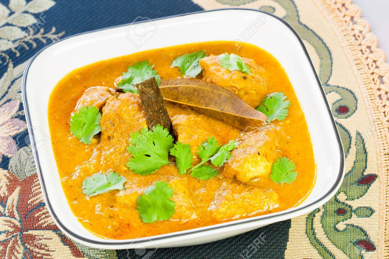 Closeup view of delicious Indian chicken curry garnished with