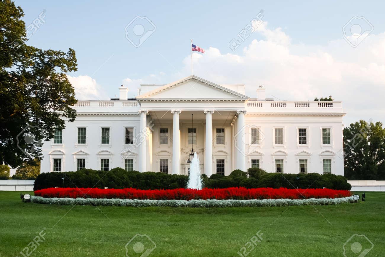 Banque dimages maison blanche la résidence officielle du président des états unis à washington dc éclairé par le soleil couchant le soir