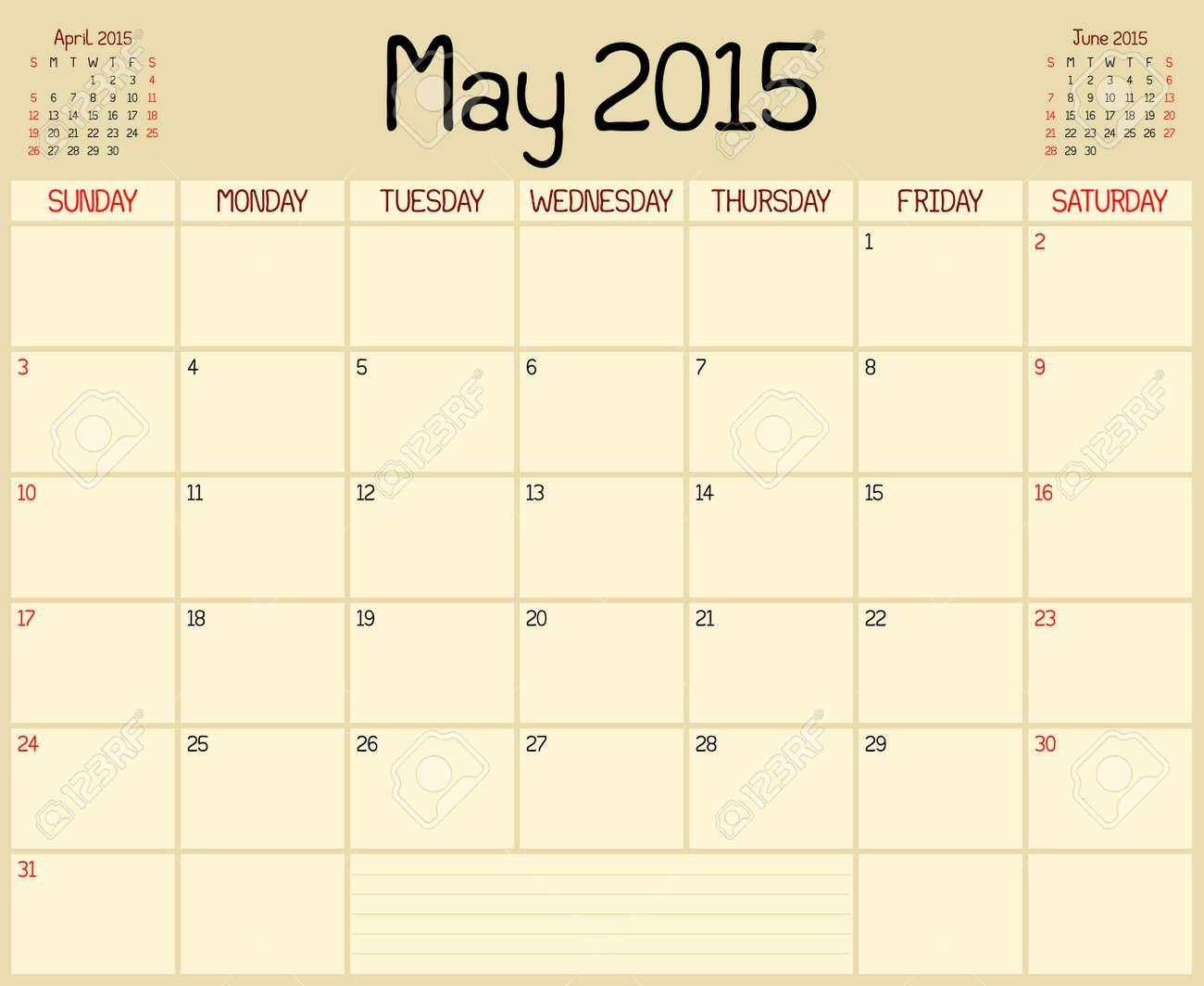 A Monthly Planner Calendar For May 2015. A Custom Handwritten ...