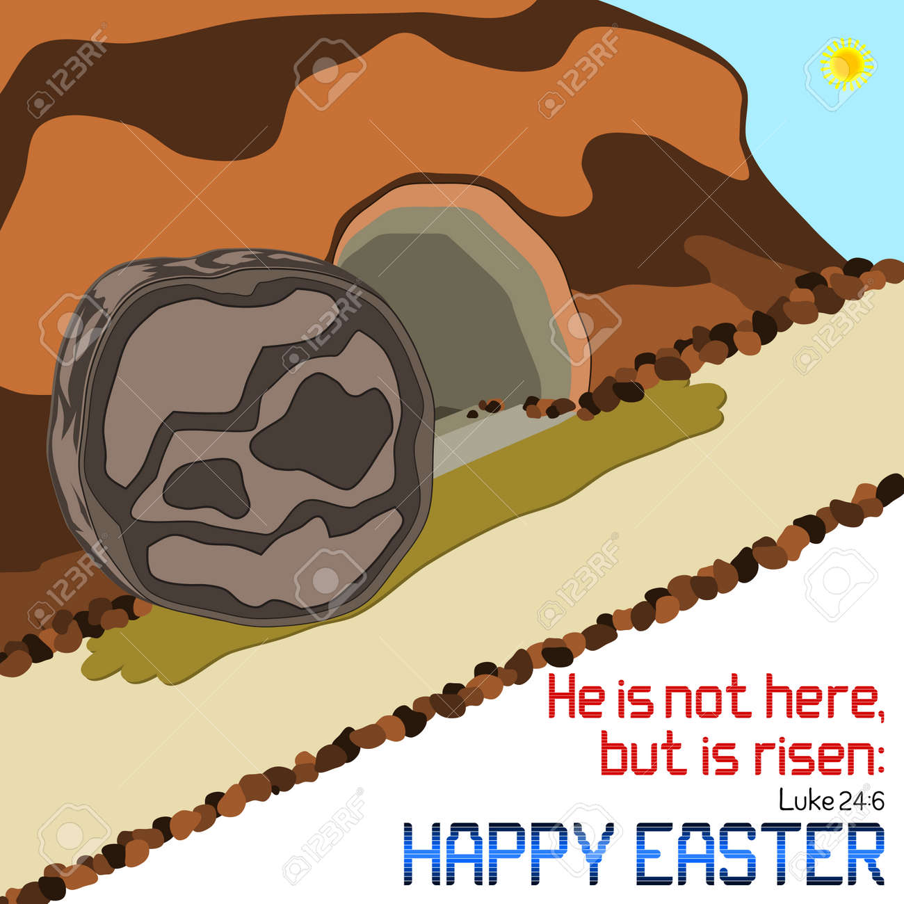 Happy Easter   Happy Easter Empty Tomb Illustration With Bible Verse On  White Background. Stock