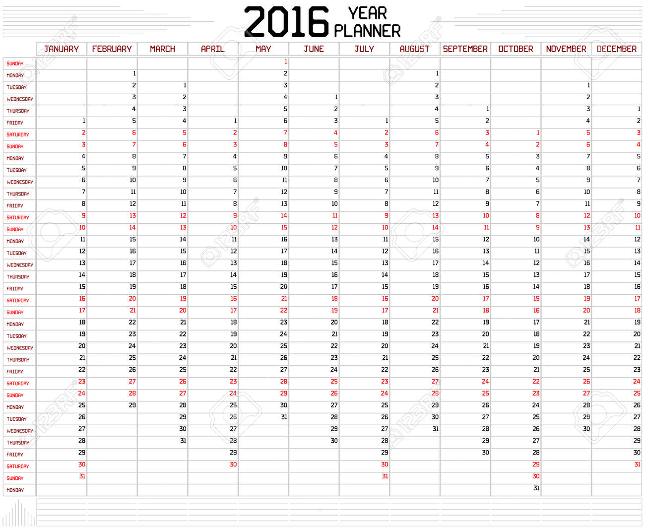 vector year 2016 planner an annual planner calendar for the year 2016 on white a custom straight lines thick font is used