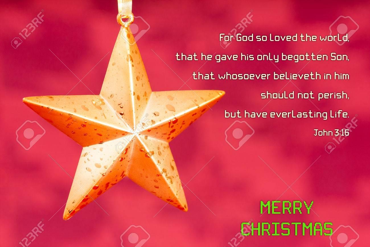 Weihnachten Bibel Vers Johannes 3:16 - Eine Sternförmige ...