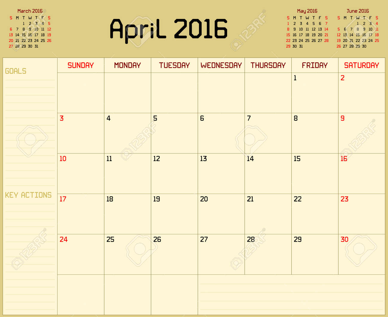 year 2016 april planner a monthly planner calendar for april