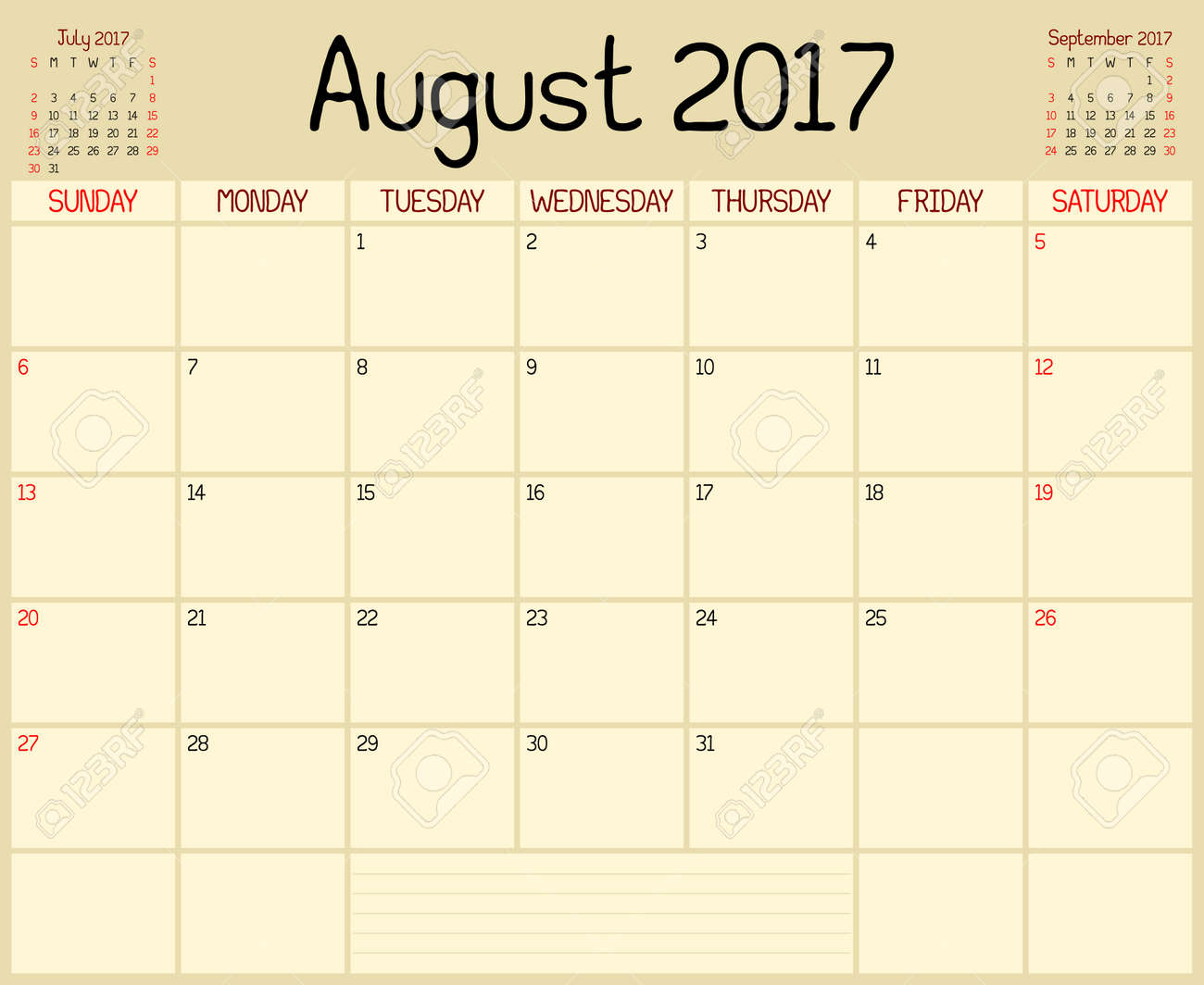 year 2017 august planner a monthly planner calendar for august