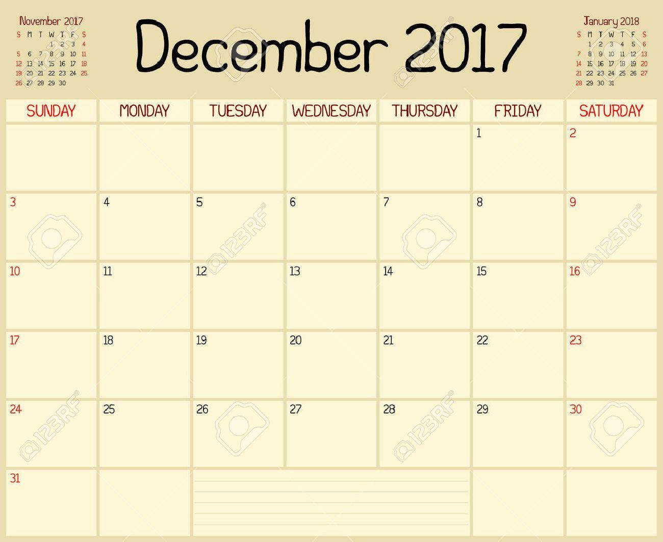 Année 2017 Décembre Planner Un Calendrier De Planification Mensuelle Pour Décembre 2017 Un Style Manuscrit Personnalisé Est Utilisé