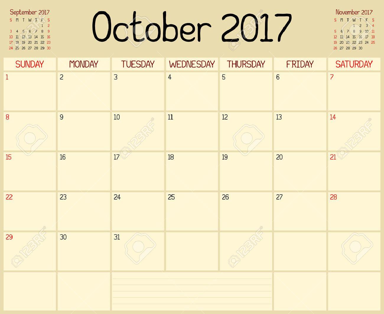 Année 2017 Octobre Planner Un Calendrier De Planification Mensuelle Pour Octobre 2017 Un Style Manuscrit Personnalisé Est Utilisé