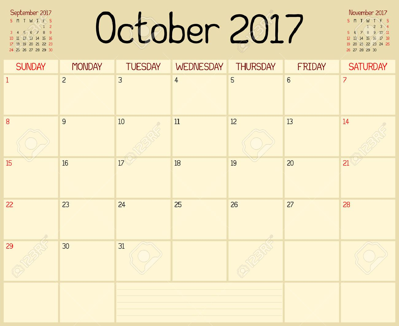 year 2017 october planner a monthly planner calendar for october