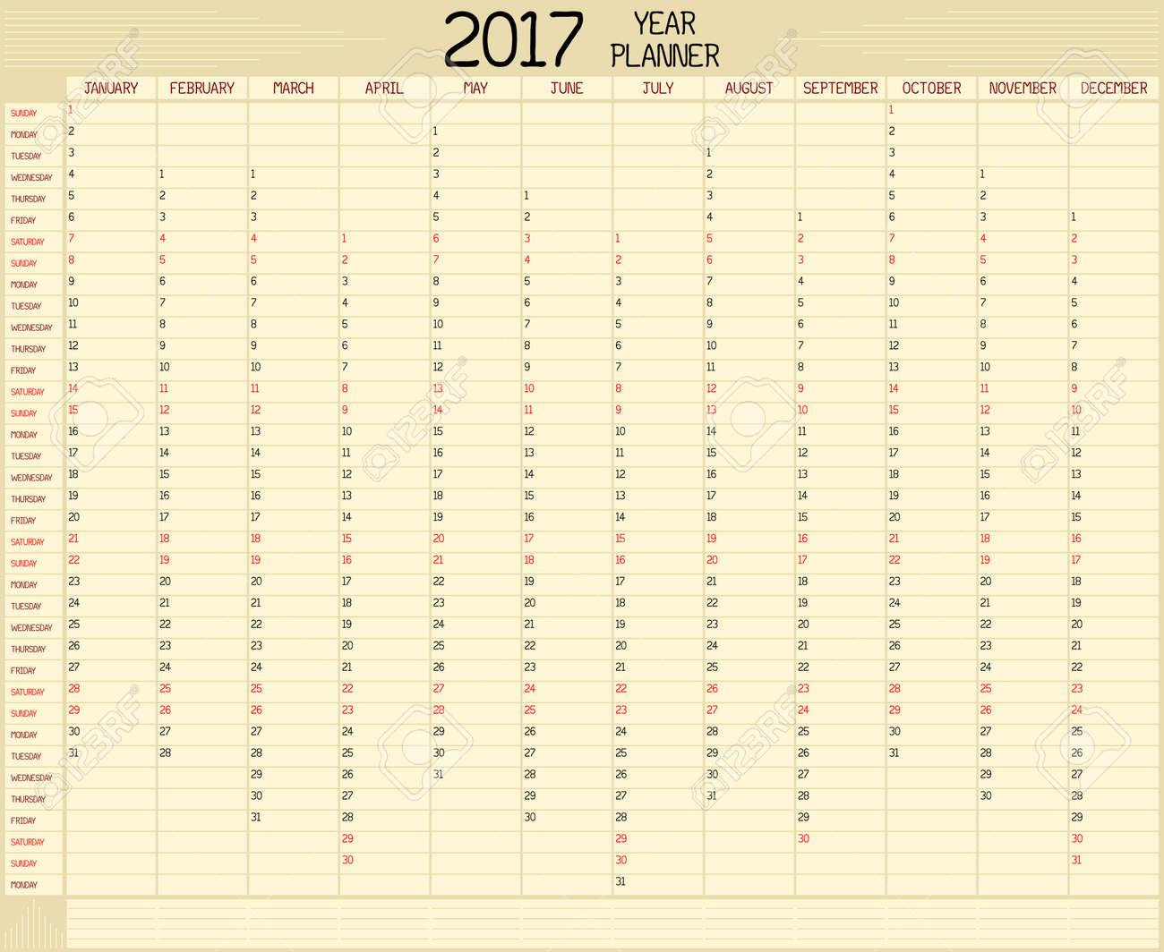 Année 2017 Planner Un Calendrier De Planification Annuelle Pour Lannée 2017 Un Style Manuscrit Personnalisé Est Utilisé