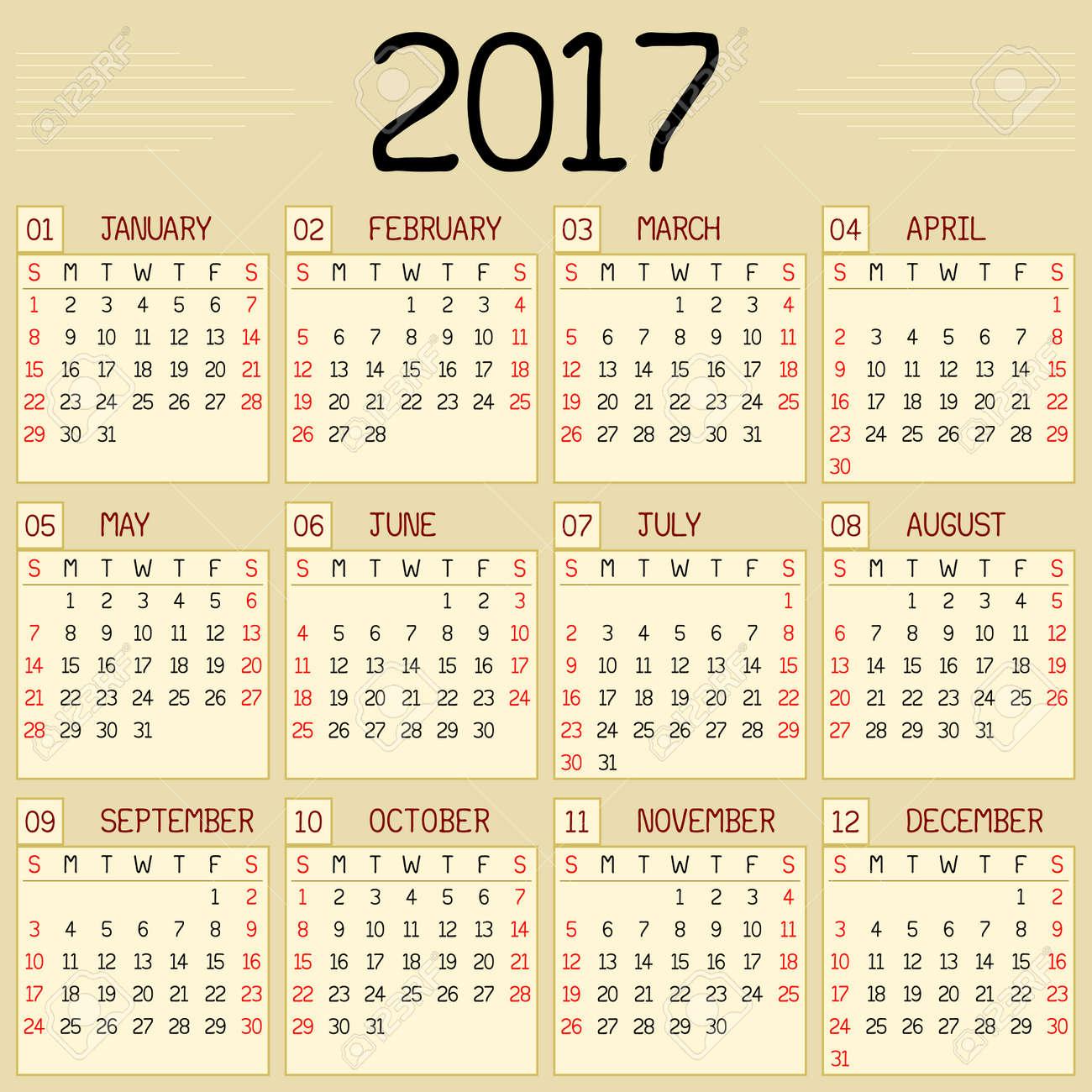 Année 2017 Calendrier Un Calendrier Mensuel Pour Lannée 2017 Un Style Manuscrit Personnalisé Est Utilisé