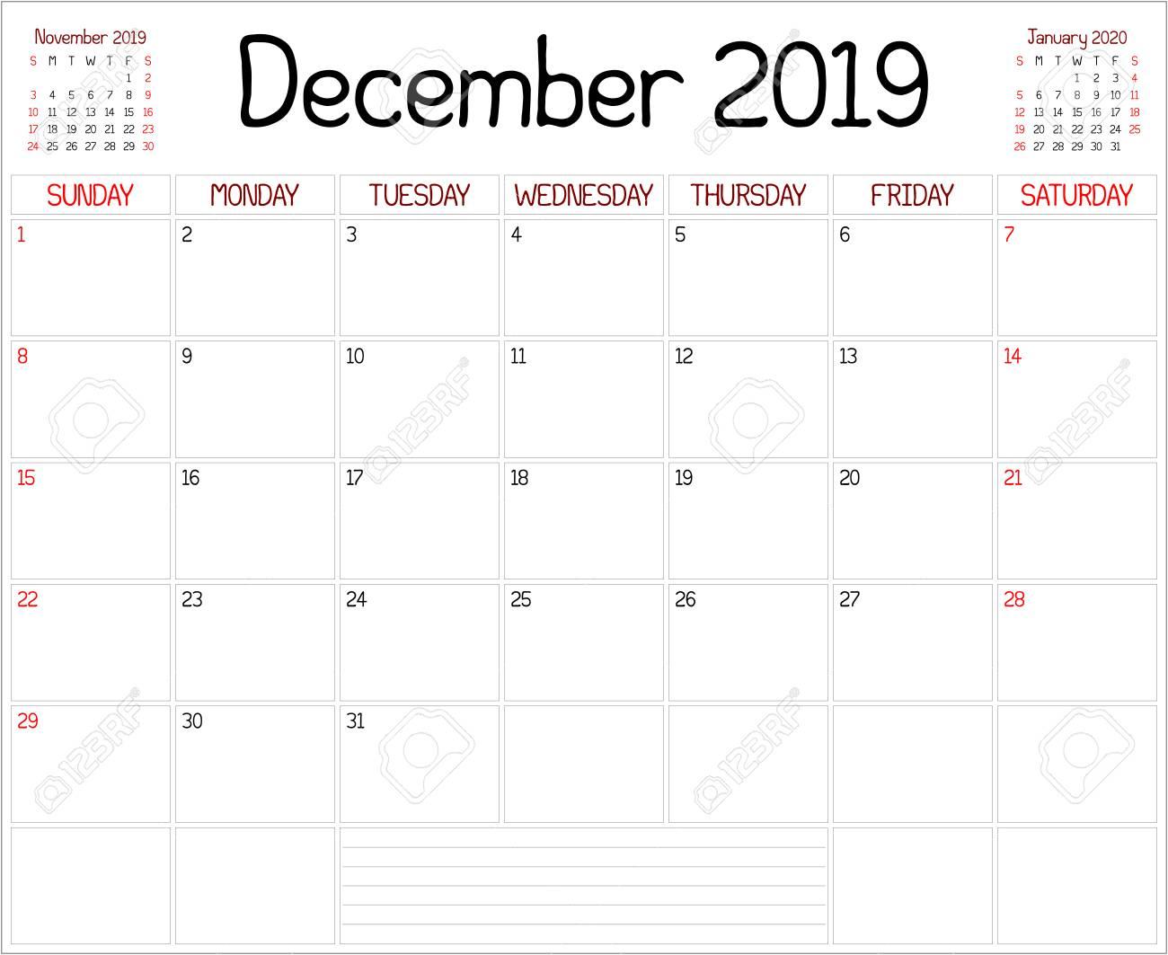 Calendar December 2019 January 2020.Year 2019 December Planner A Monthly Planner Calendar For December