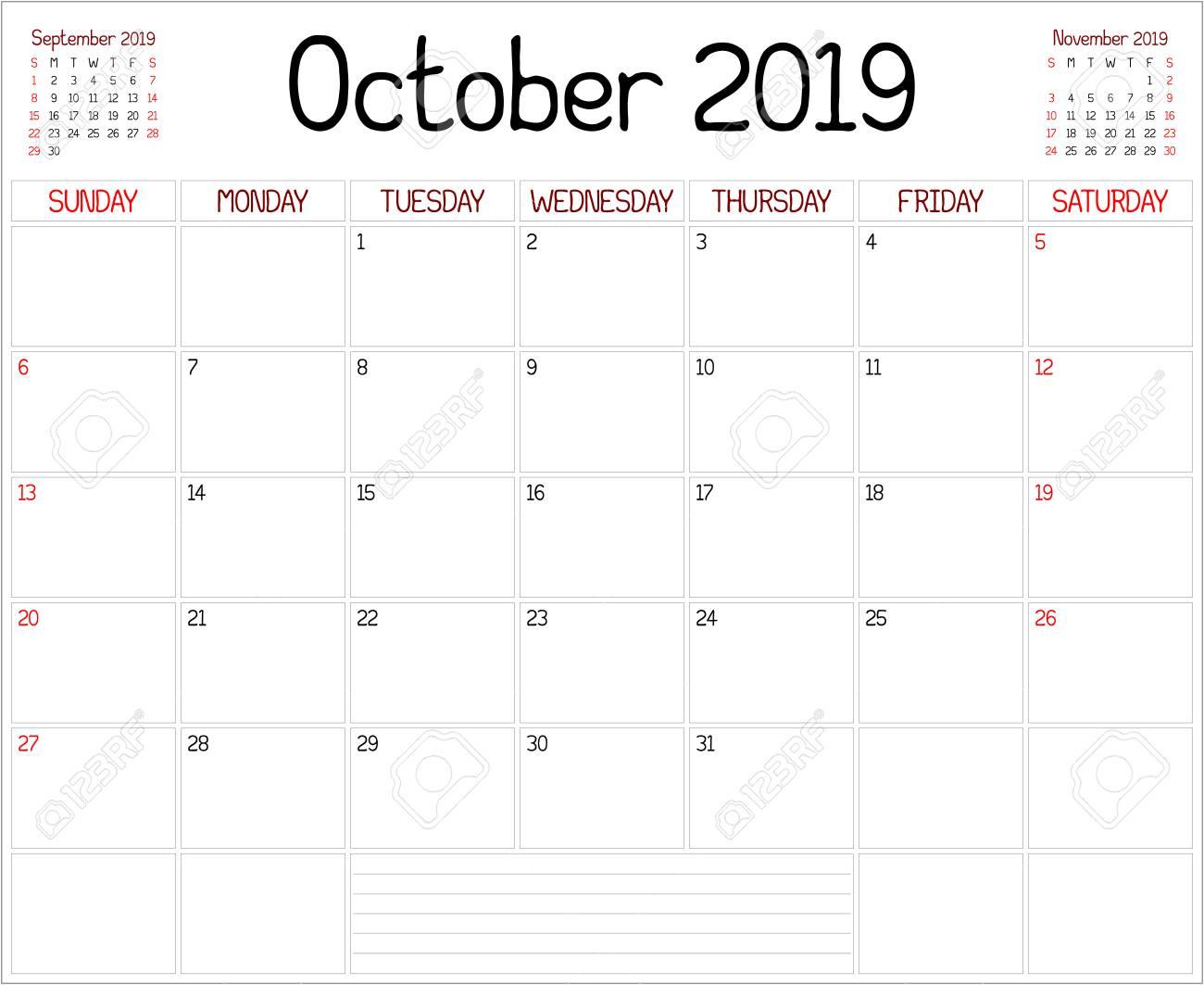 October Calendar 2019.Year 2019 October Planner A Monthly Planner Calendar For October