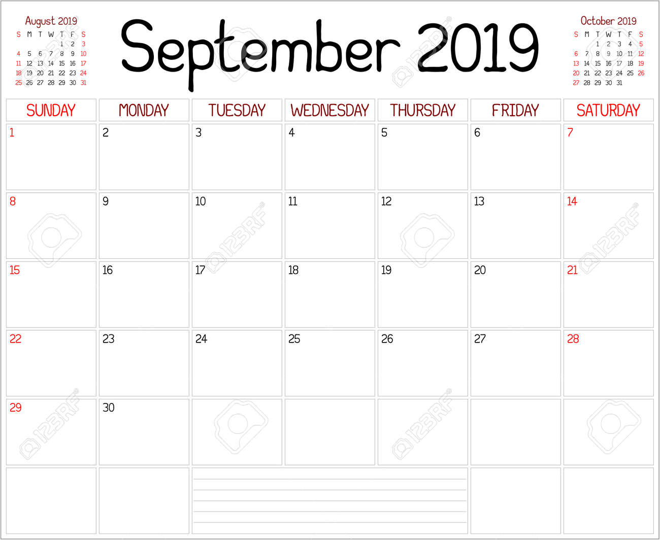 September Calendar.Year 2019 September Planner A Monthly Planner Calendar For